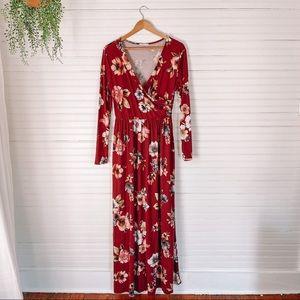 Reb & J Burgundy Floral Maxi Dress WITH POCKETS
